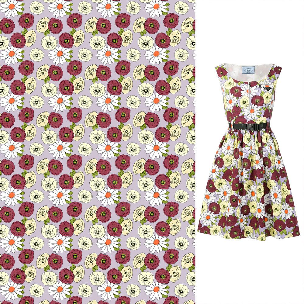 植物小花朵菊花拼接矢量图服装纺织面料数码印花花型素材-POP花型网