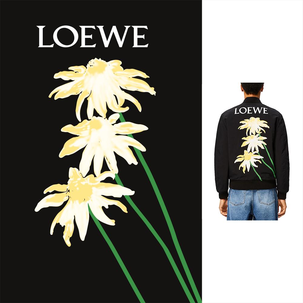 菊花植物花朵字母LOEWE矢量图服装T恤裁片烫图印花花型素材-POP花型网