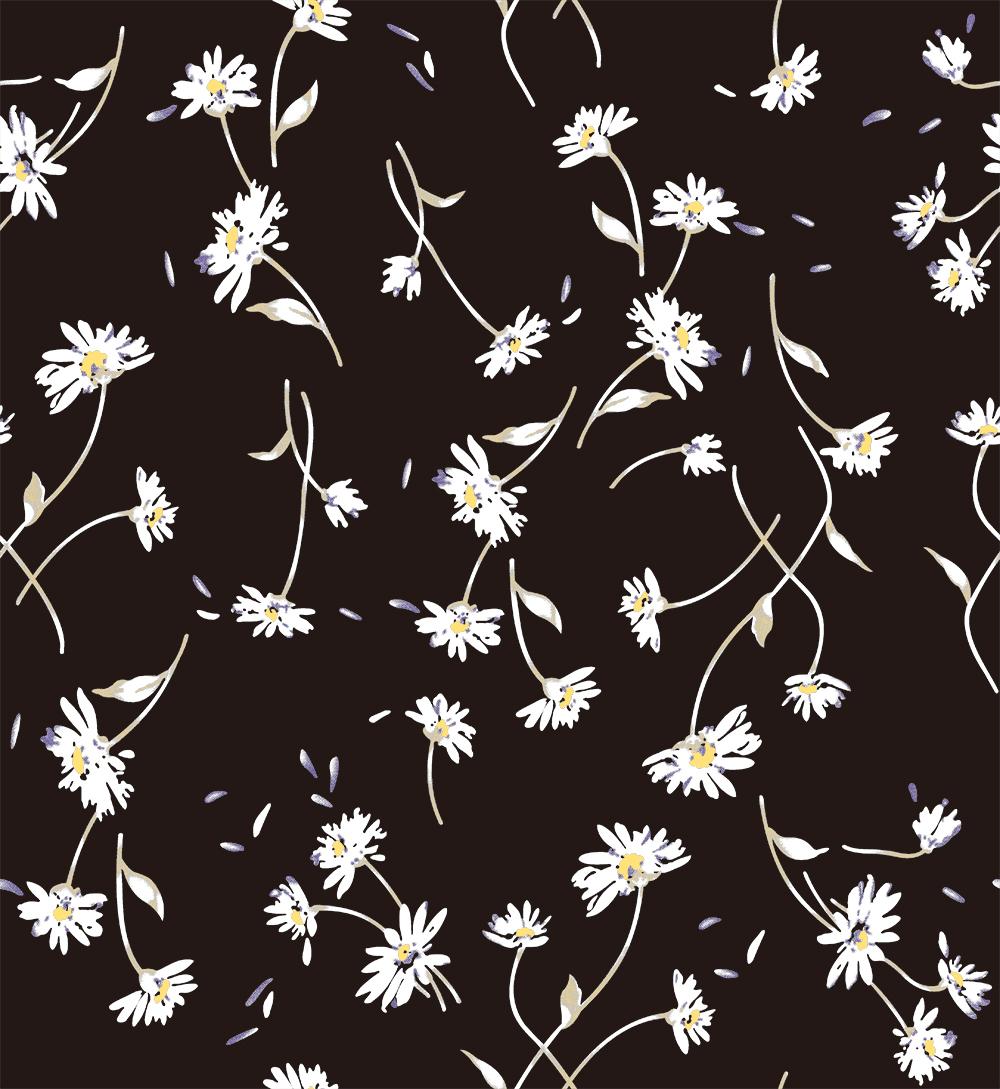 白色菊花植物花朵拼接矢量图服装纺织面料数码印花花型素材-POP花型网