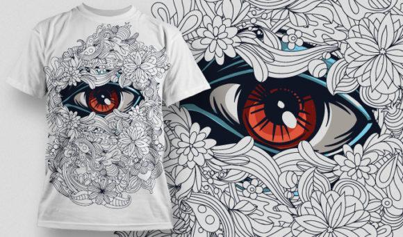 植物花卉眼睛印花矢量图服装裁片T恤烫图印花花型素材-POP花型网