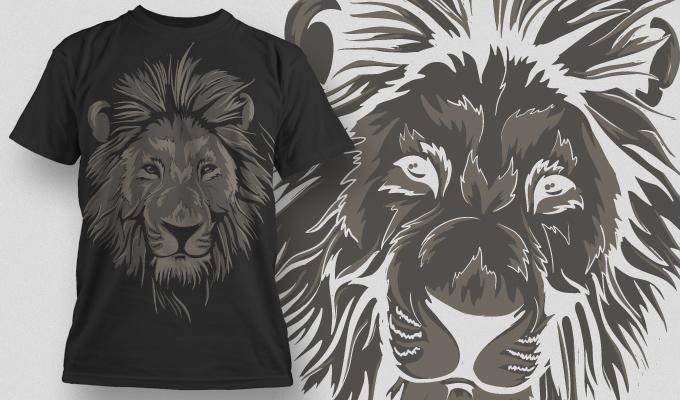动物狮子印花矢量图服装裁片T恤烫图印花花型素材-POP花型网