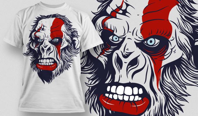 动物大猩猩印花矢量图服装裁片T恤烫图印花花型素材-POP花型网