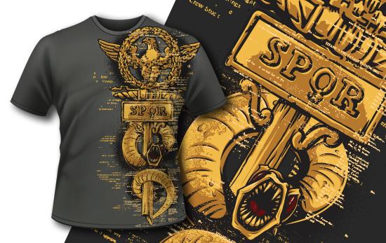 复古权杖字母印花矢量图服装裁片T恤烫图印花花型素材-POP花型网