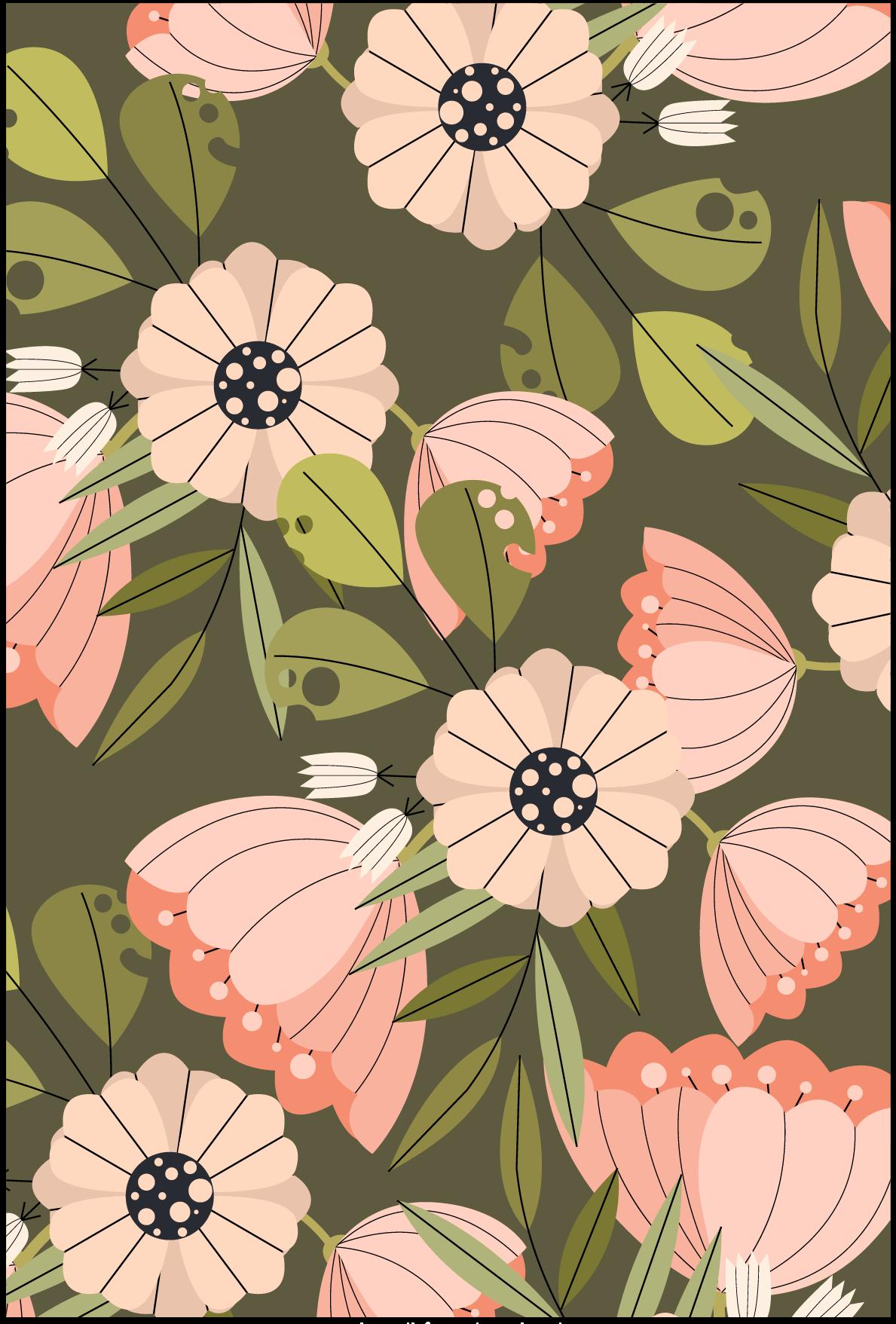 几何植物花朵印花矢量图服装纺织面料数码印花花型素材-POP花型网