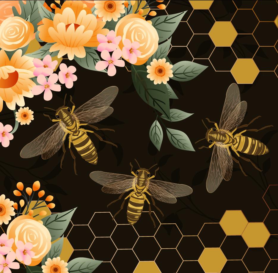 植物花卉蜜蜂印花矢量图服装纺织面料数码印花花型素材-POP花型网