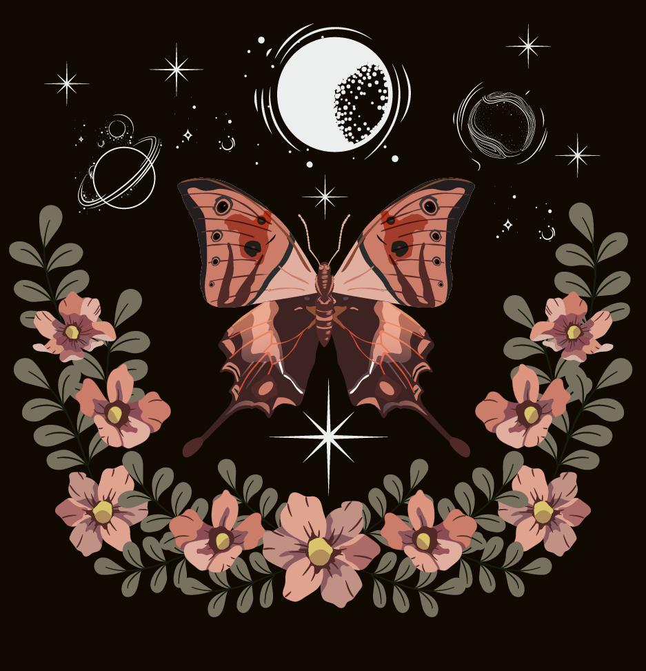 植物花卉蝴蝶印花矢量图服装裁片T恤烫图印花花型素材-POP花型网