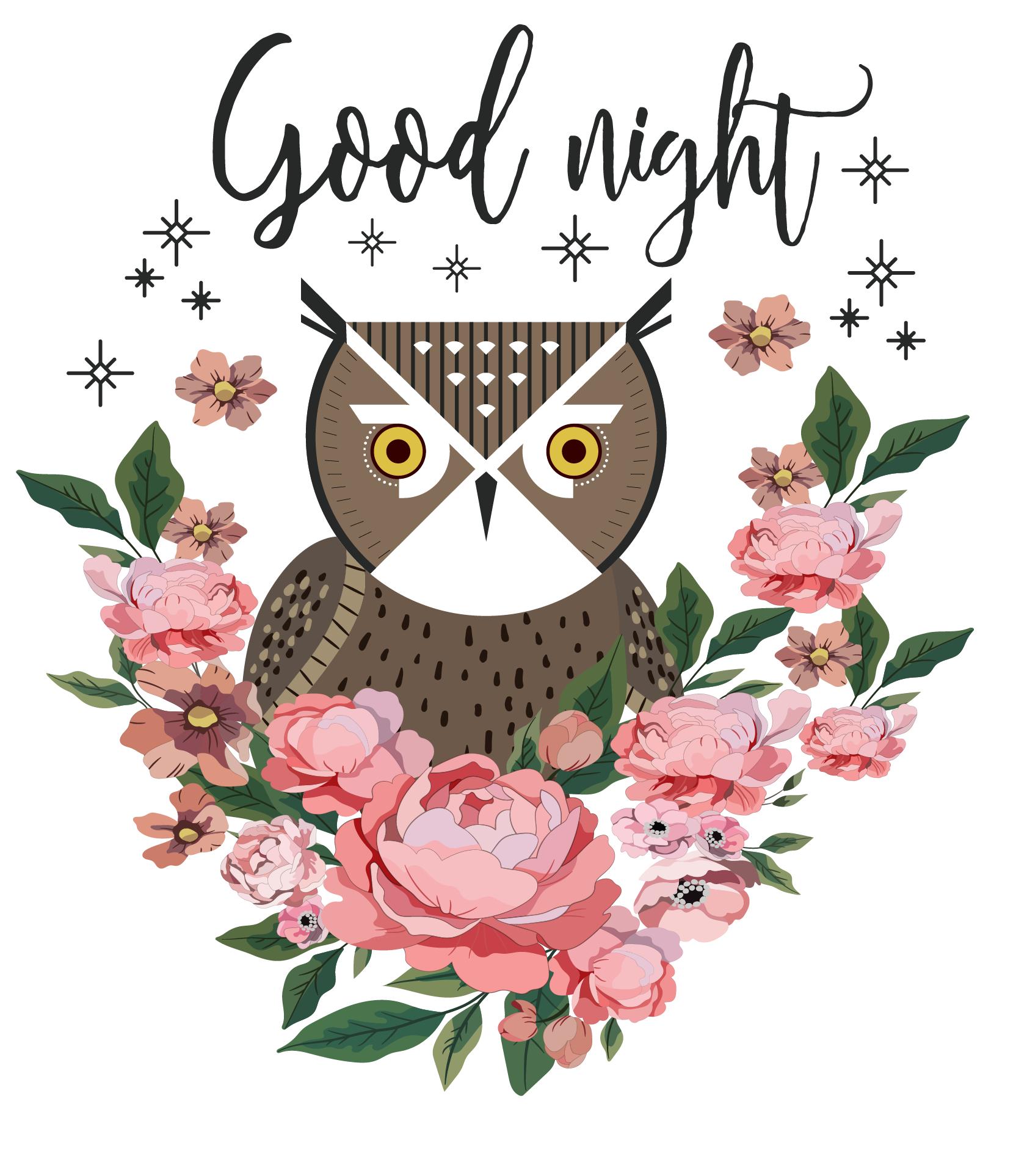 植物牡丹花猫头鹰字母印花矢量图服装裁片T恤烫图印花花型素材-POP花型网