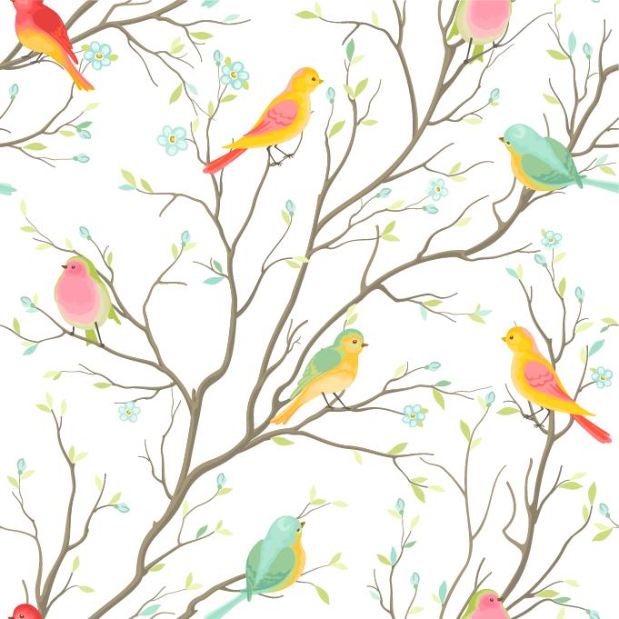 卡通植物树干叶子飞鸟印花矢量图服装纺织面料数码印花花型素材-POP花型网