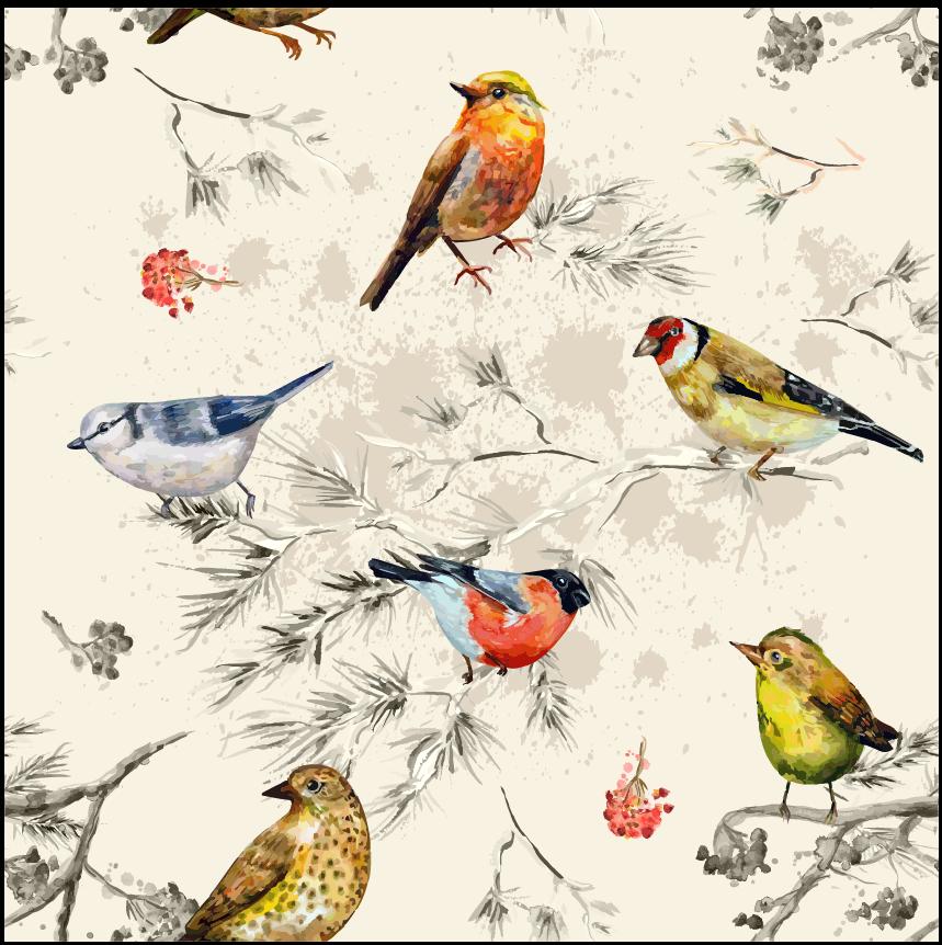 几何植物树干叶子飞鸟印花矢量图服装纺织面料数码印花花型素材-POP花型网