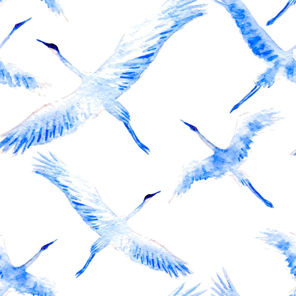 中国风飞鸟丹顶鹤印花矢量图服装纺织面料数码印花花型素材-POP花型网