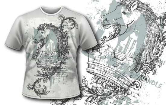 动物骏马几何花纹矢量图服装裁片T恤烫图印花花型素材-POP花型网