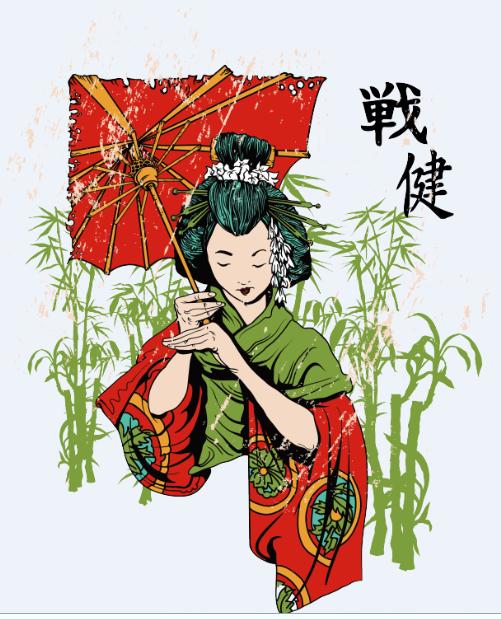 日系风人物竹子印花矢量图服装裁片T恤烫图印花花型素材-POP花型网