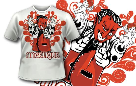 几何条纹小丑印花矢量图服装裁片T恤烫图印花花型素材-POP花型网