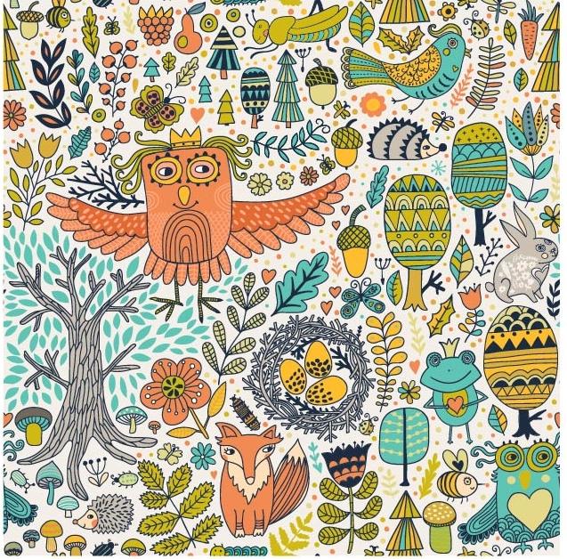 几何卡通田园风动物矢量图服装纺织面料数码印花花型素材-POP花型网