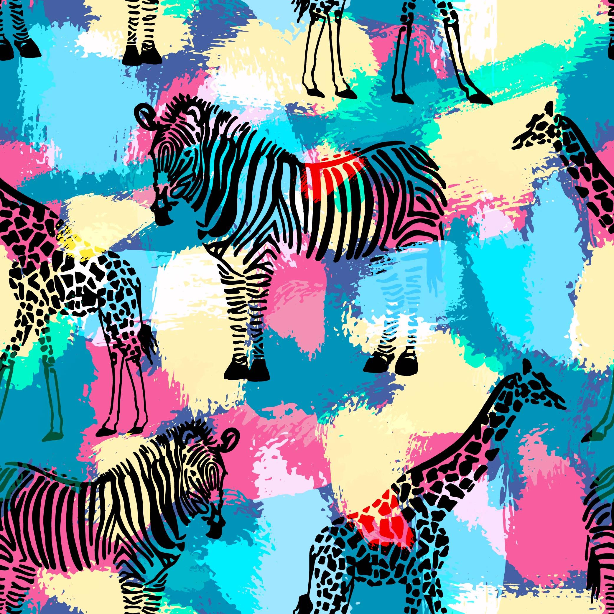 几何色彩涂鸦斑马拼接印花矢量图服装纺织面料数码印花花型素材-POP花型网