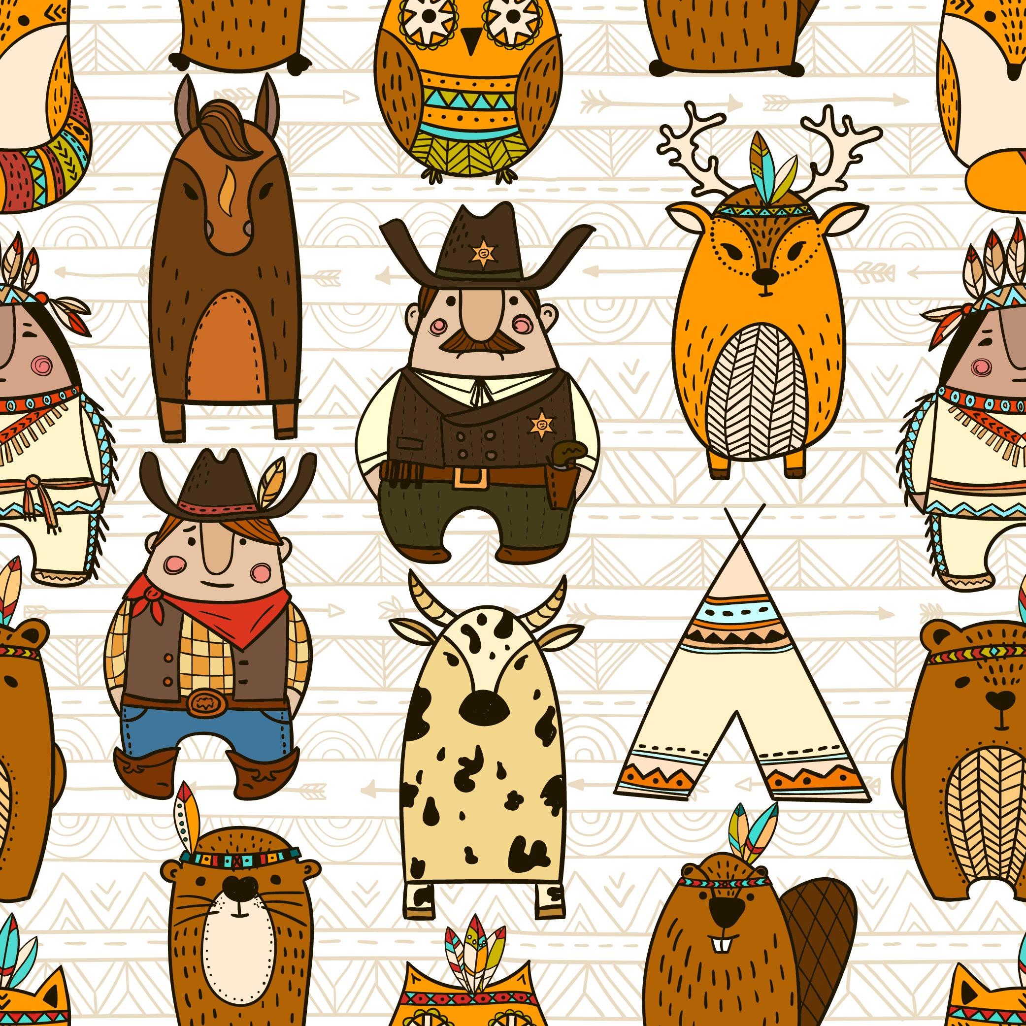 卡通动物驯鹿马儿童印花矢量图服装纺织面料数码印花花型素材-POP花型网