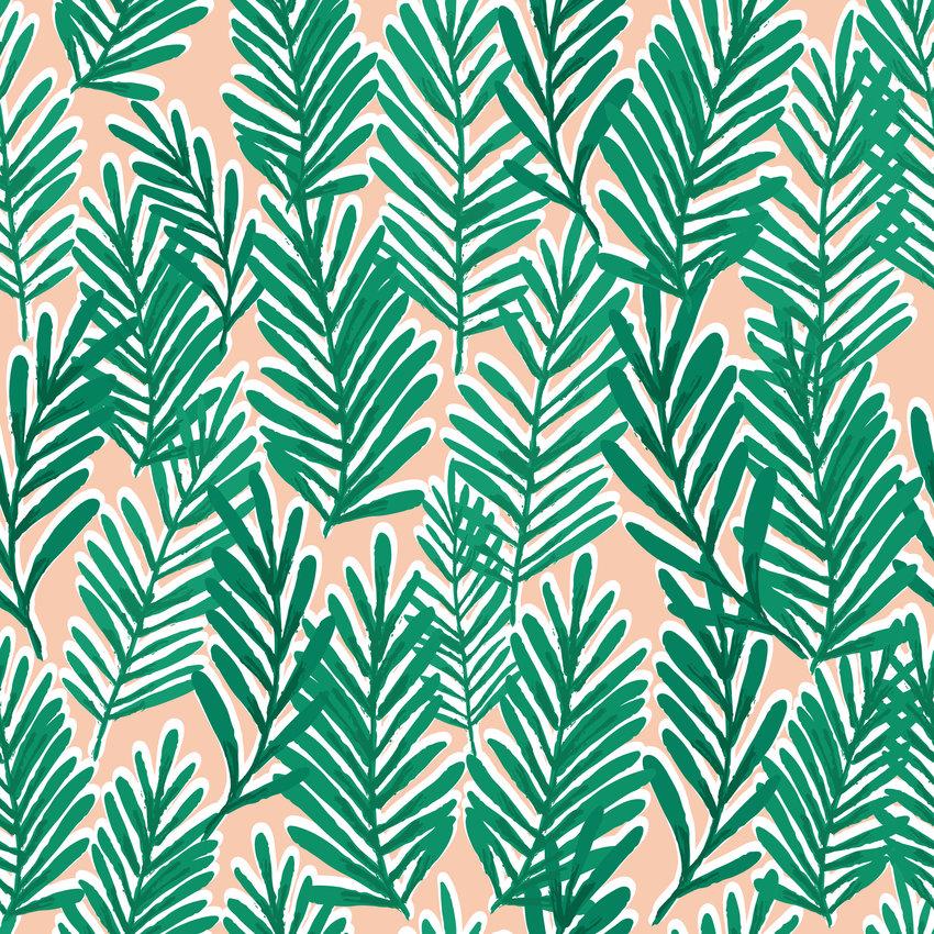 几何植物叶子印花矢量图服装纺织面料数码印花花型素材-POP花型网