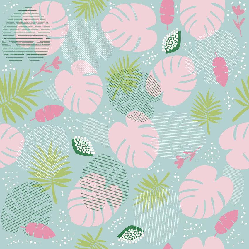 几何植物叶子拼接矢量图服装纺织面料数码印花花型素材-POP花型网