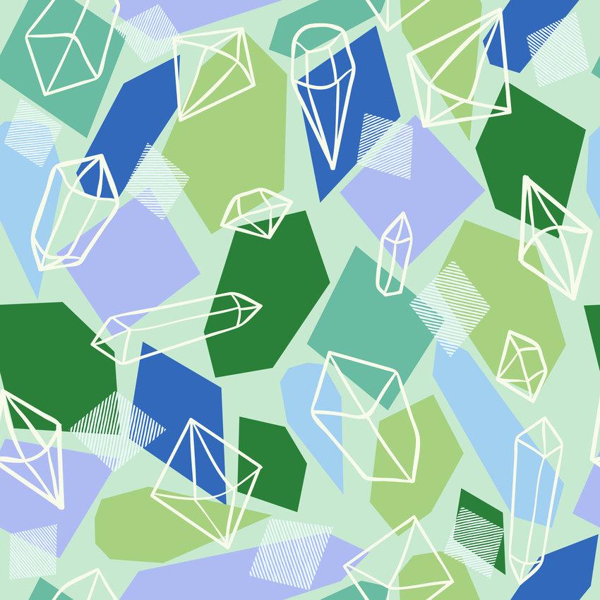 多彩几何图案拼接矢量图服装纺织面料数码印花花型素材-POP花型网
