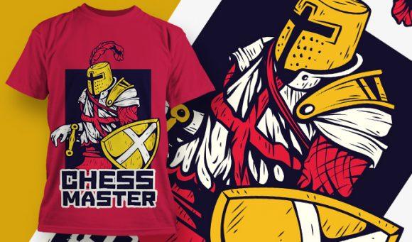 几何字母骑士印花矢量图服装裁片T恤烫图印花花型素材-POP花型网