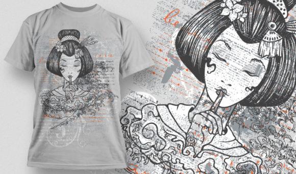 几何花纹女士人物印花矢量图服装裁片T恤烫图印花花型素材-POP花型网
