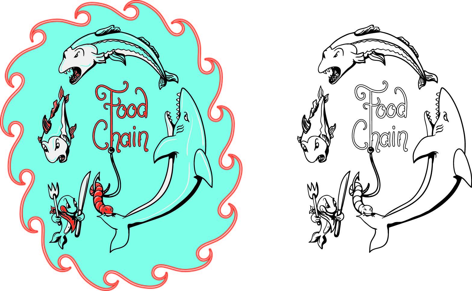 几何字母鱼类印花矢量图服装裁片T恤烫图印花花型素材-POP花型网