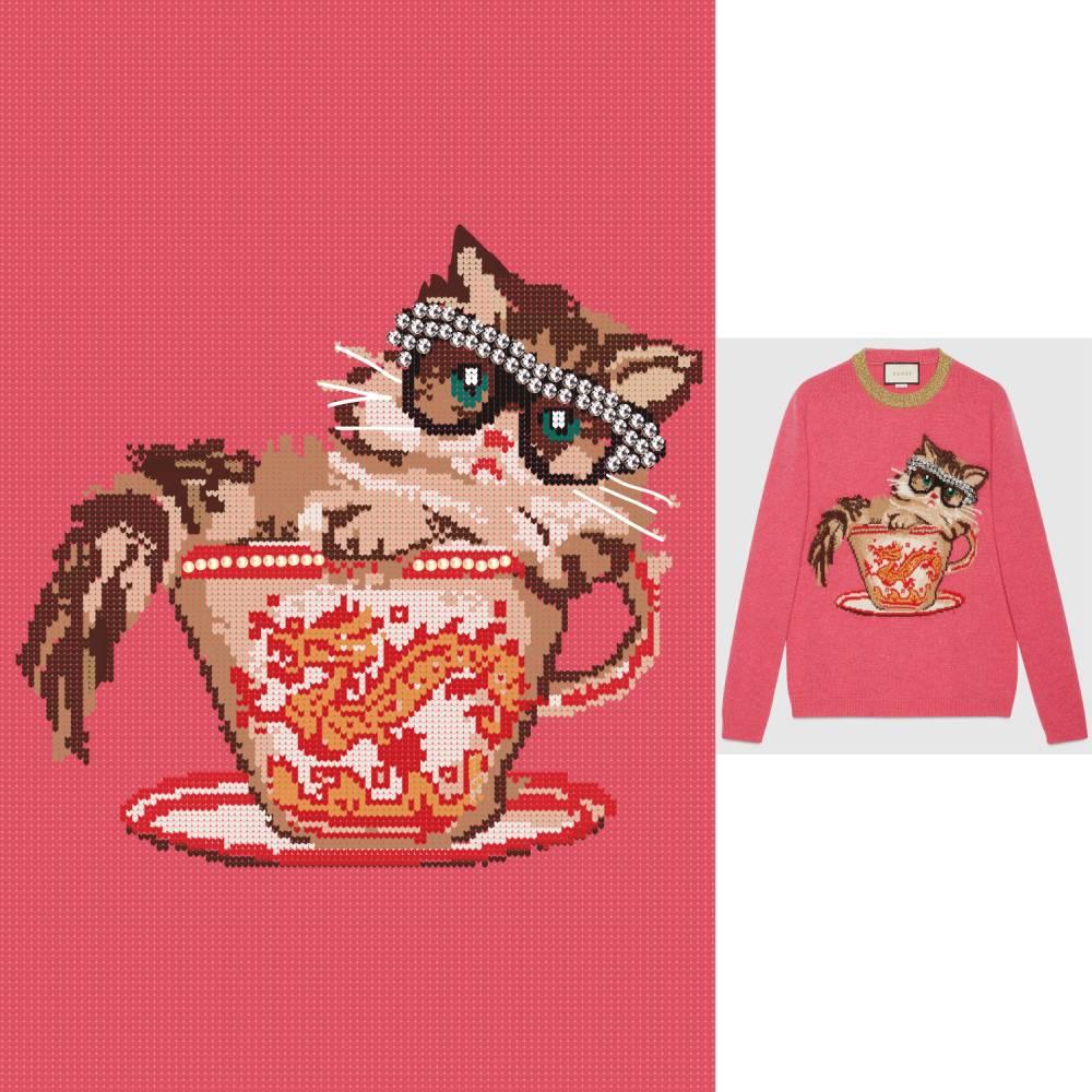 猫咪杯子龙印花矢量图服装裁片T恤烫图印花花型素材-POP花型网