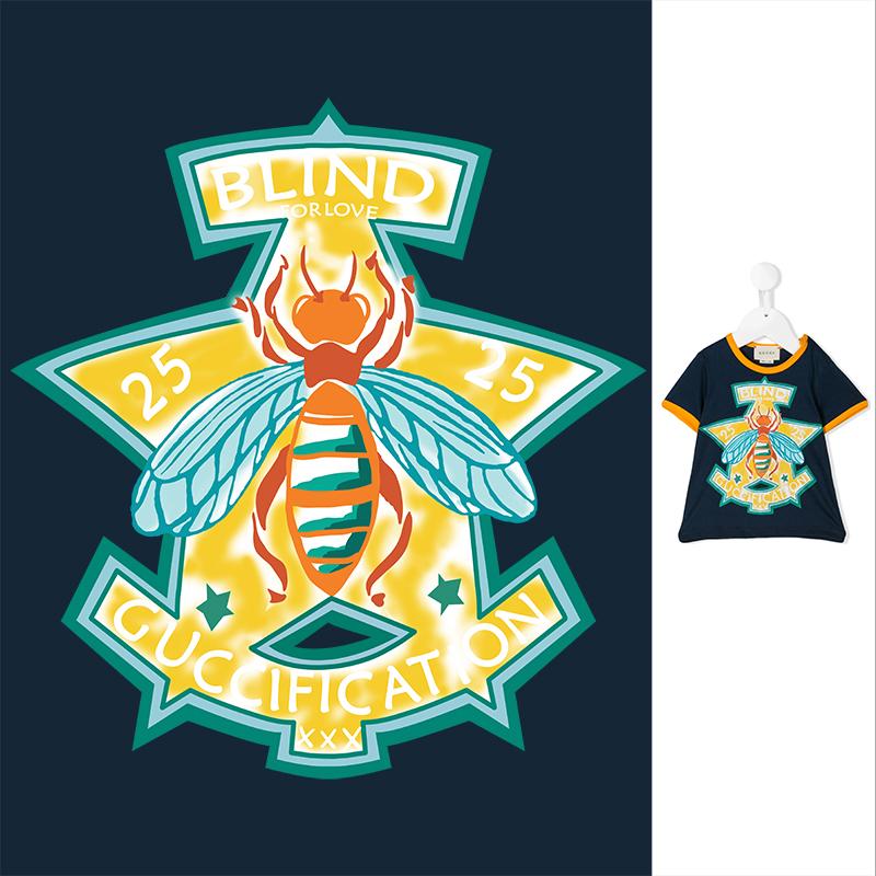 蜜蜂字母GUCCI印花矢量图服装裁片T恤烫图印花花型素材-POP花型网