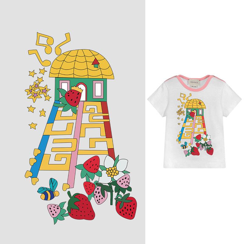 卡通滑滑梯草莓印花矢量图服装裁片T恤烫图印花花型素材-POP花型网