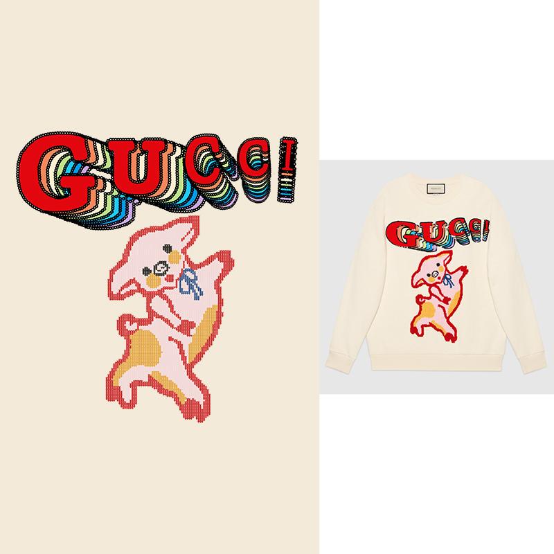 大牌GUCCI卡通小猪印花矢量图服装裁片T恤烫图印花花型素材-POP花型网