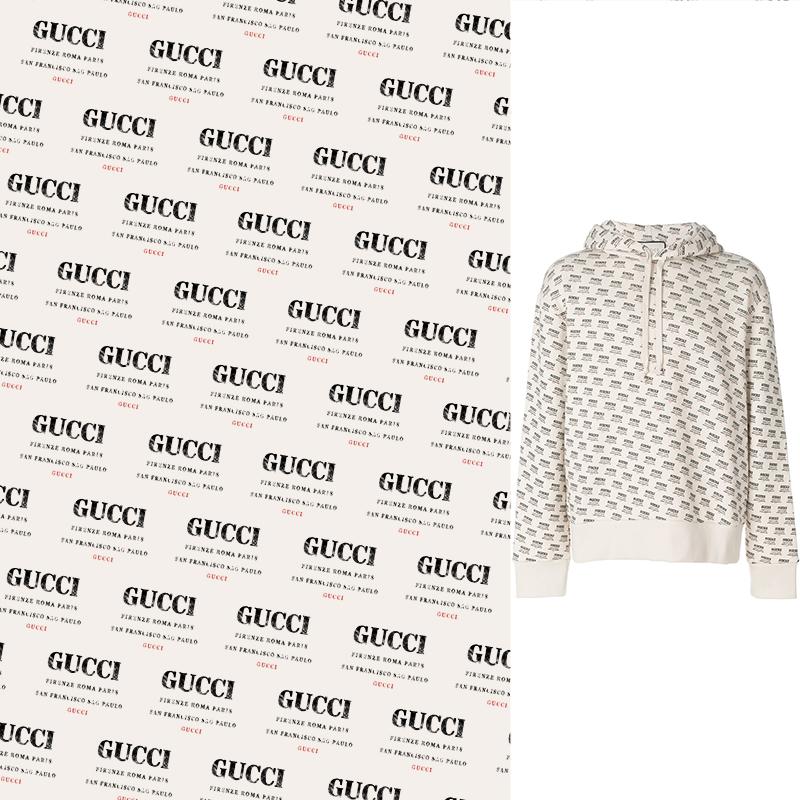 大牌几何字母GUCCI印花花型素材服装纺织面料数码印花花型素材-POP花型网