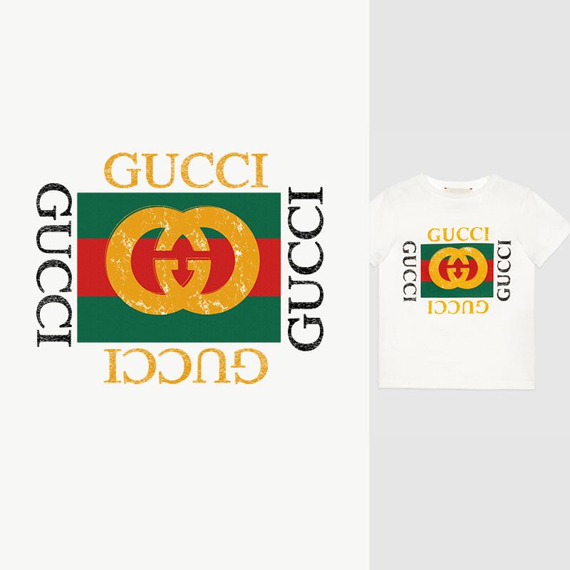 大牌字母GUCCI印花矢量图服装裁片T恤烫图印花花型素材-POP花型网