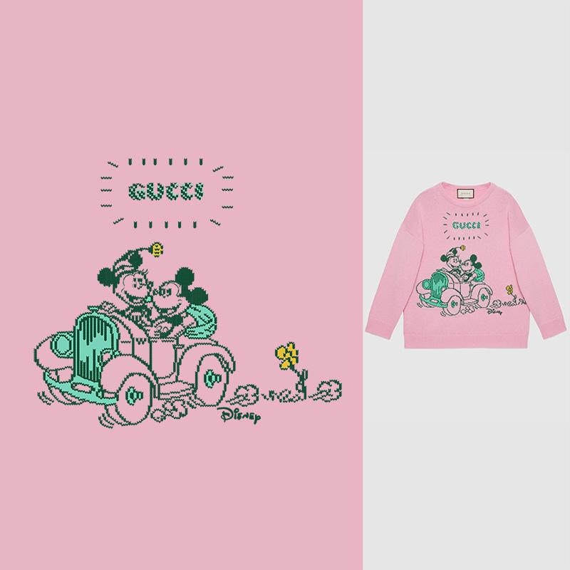 几何字母GUCCI米奇印花矢量图服装裁片T恤烫图印花花型素材-POP花型网
