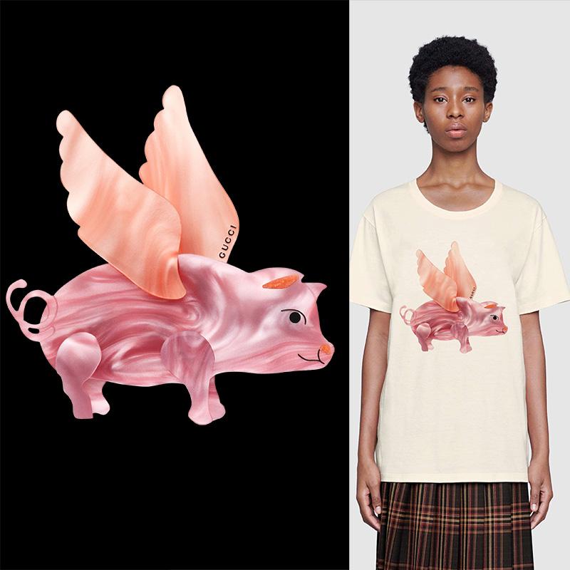 大牌GUCCI动物小猪印花矢量图服装裁片T恤烫图印花花型素材-POP花型网