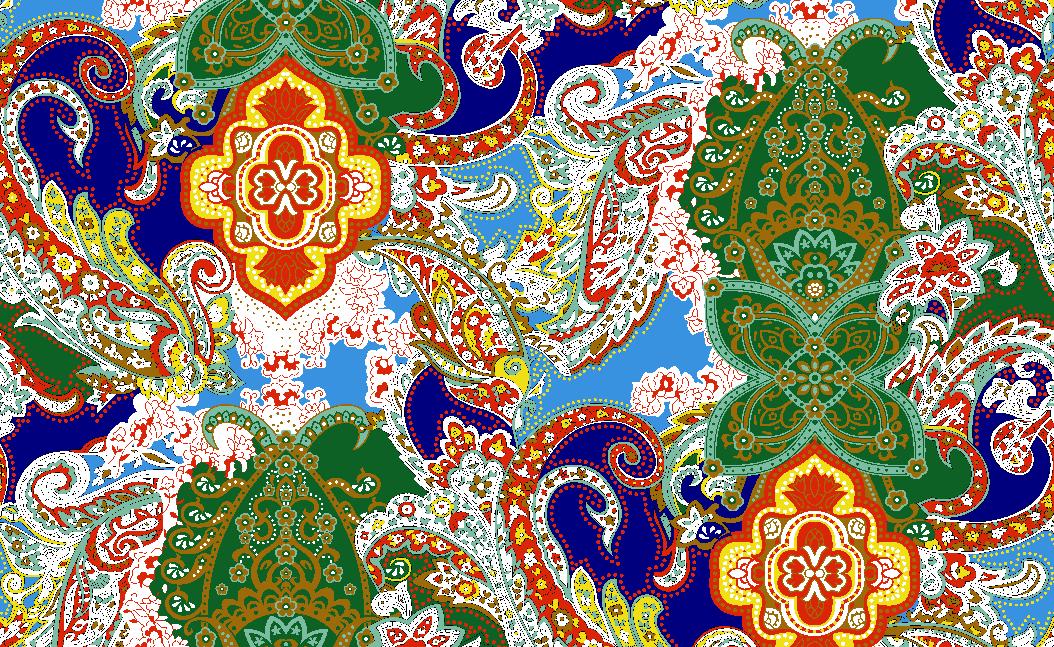 复古几何腰果花纹矢量图服装纺织面料水印数码印花金昌花型素材-POP花型网