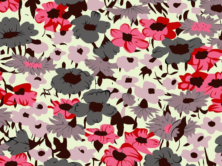 几何植物花朵印花矢量图服装纺织面料水印数码印花金昌花型素材-POP花型网