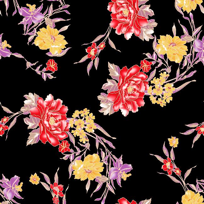 几何植物牡丹花印花矢量图服装纺织面料水印数码印花金昌花型-POP花型网