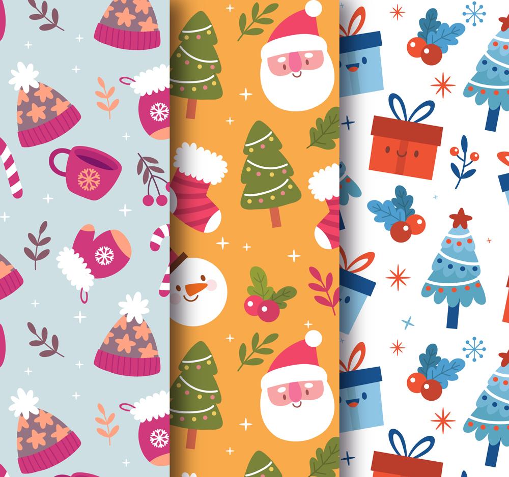 可爱卡通表情圣诞节无缝印花矢量服装纺织面料数码印花花型-POP花型网