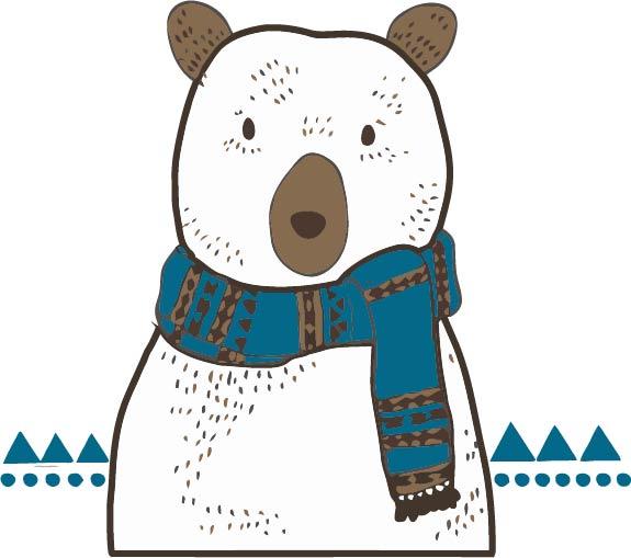 卡通动漫北极熊印花矢量图服装裁片T恤烫图印花花型素材-POP花型网