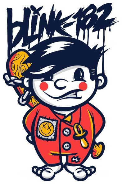 卡通人物小孩字母拼接印花矢量图服装裁片T恤烫图-POP花型网