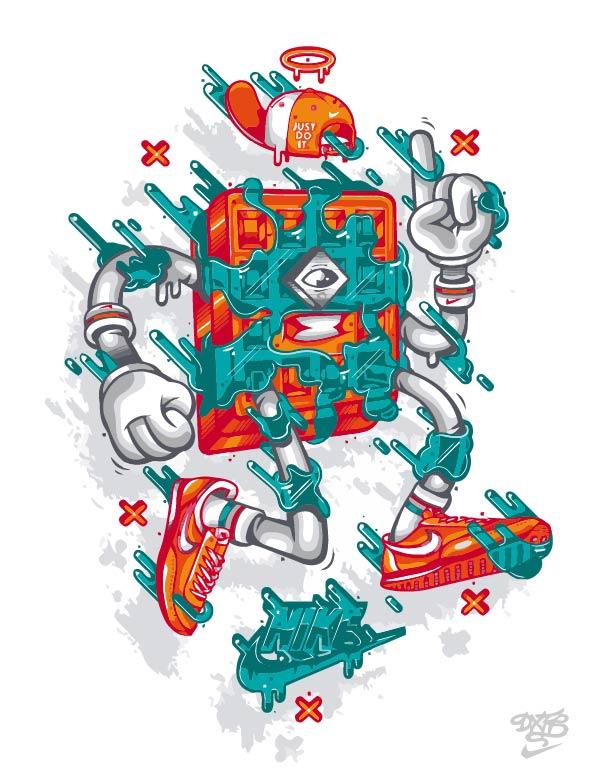 卡通动漫NIKE耐克JUST DO IT字母印花矢量图服装裁片T恤烫图印花花型素材-POP花型网