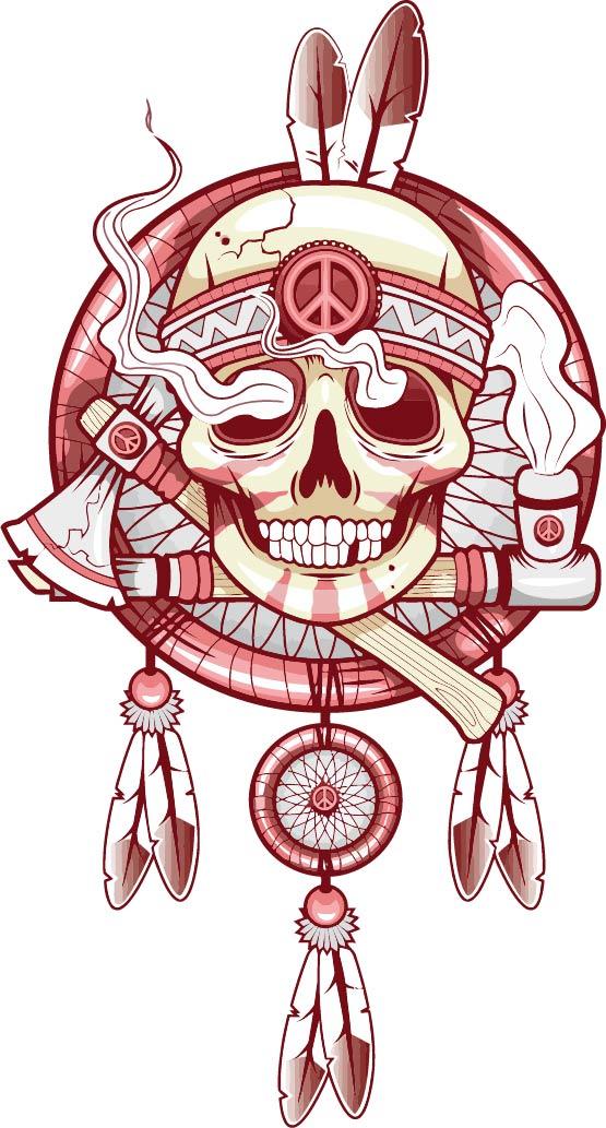 几何骷髅头羽毛拼接印花矢量图服装裁片T恤烫图印花花型素材-POP花型网