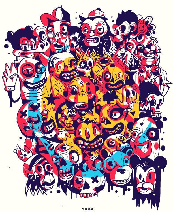 卡通动漫人物印花矢量图服装裁片T恤烫图印花花型素材-POP花型网