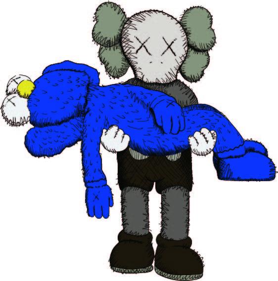 潮流品牌Kaws卡通形象印花矢量图服装裁片T恤烫图印花花型素材-POP花型网