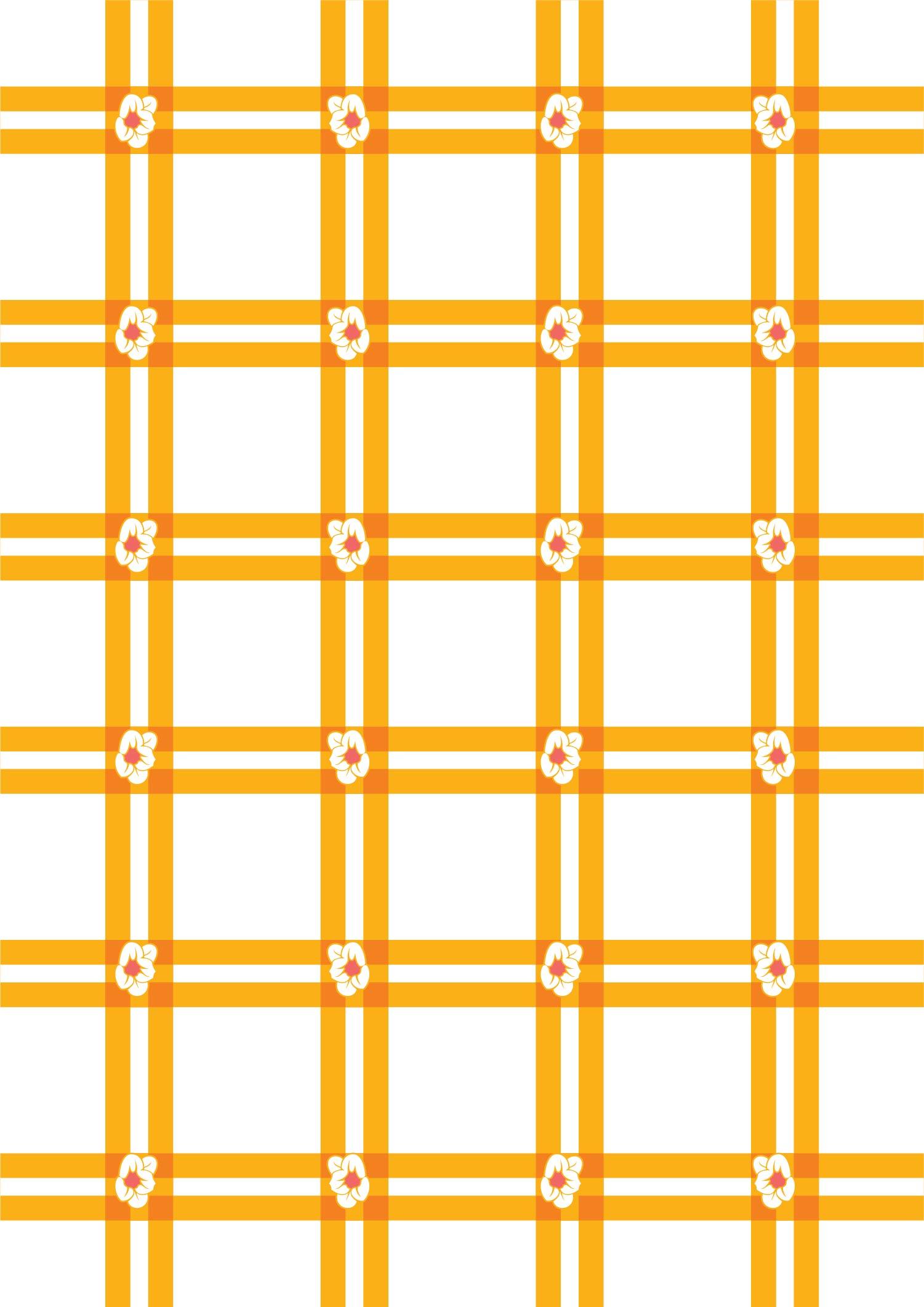 几何黄色格子小花朵拼接印花矢量图服装纺织面料数码印花花型素材-POP花型网