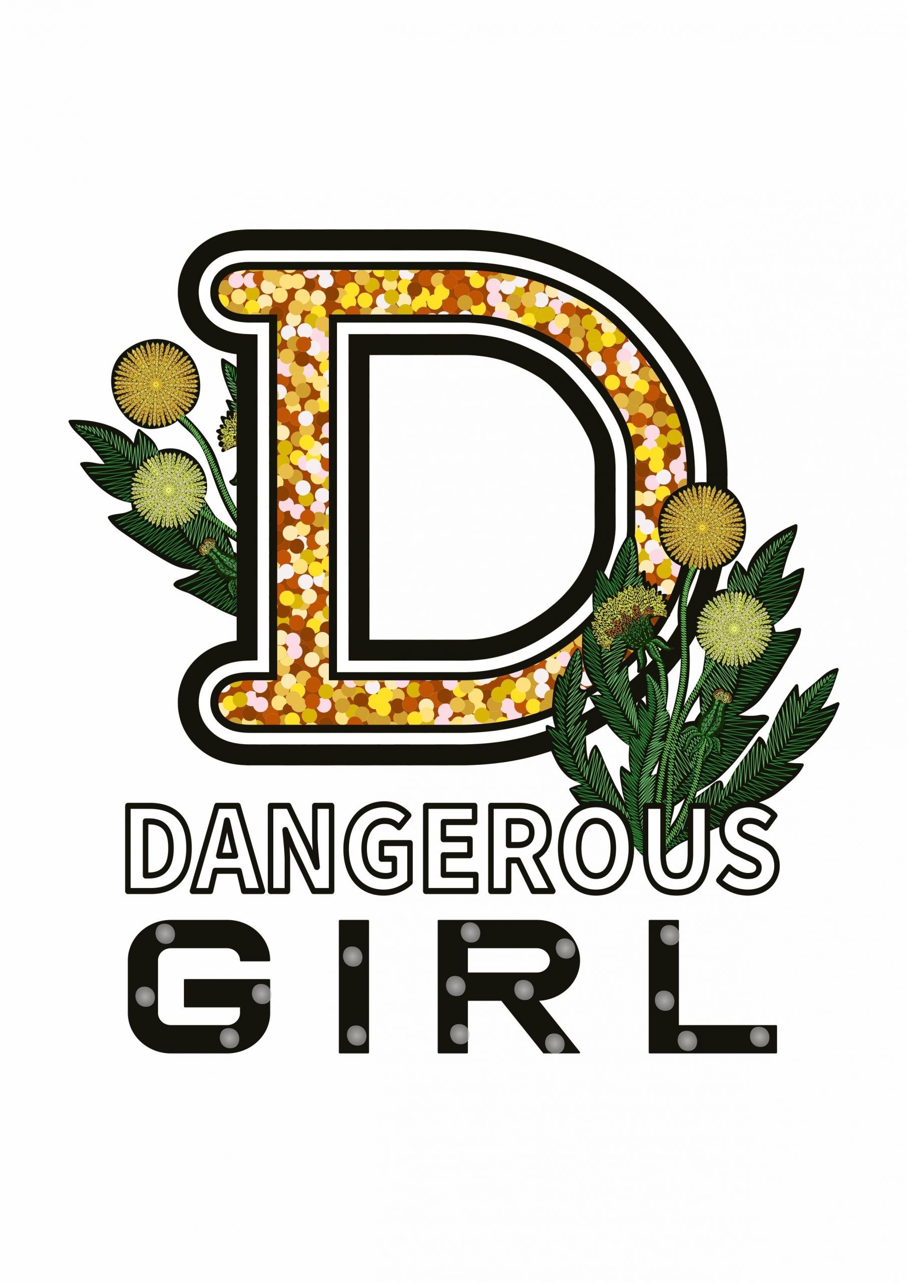 D字母植物花朵拼接印花矢量图服装裁片T恤烫图印花花型素材-POP花型网