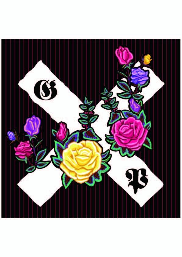 字母X植物牡丹花朵拼接印花矢量图服装裁片T恤烫图印花花型素材-POP花型网
