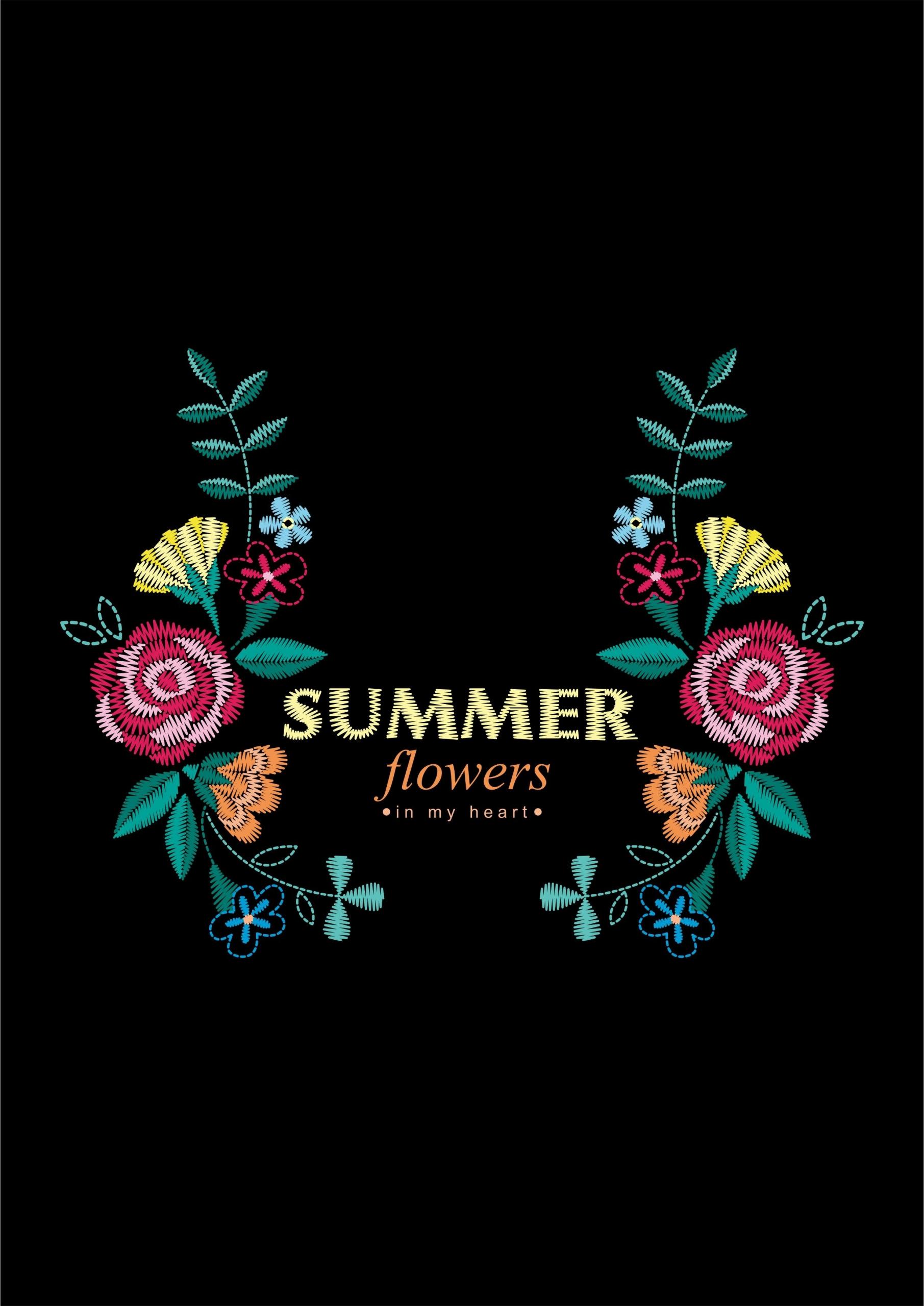 植物玫瑰花字母印花矢量图服装裁片T恤烫图印花花型素材-POP花型网