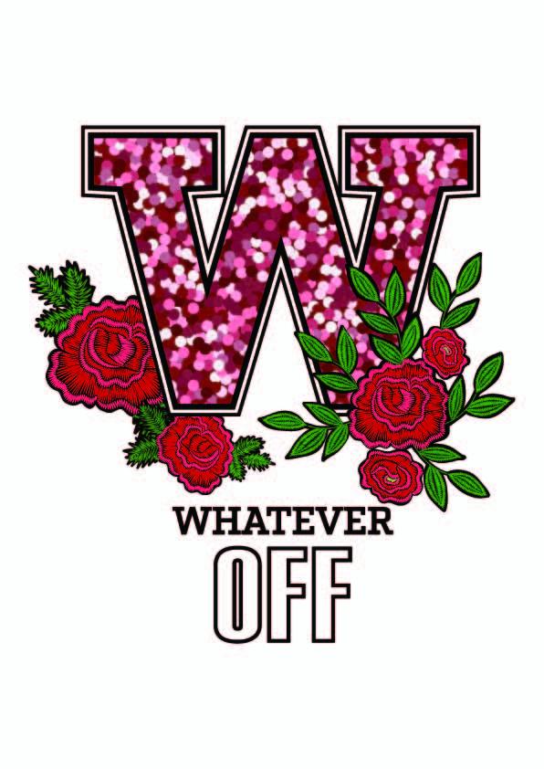 字母W牡丹花印花矢量图服装裁片T恤烫图印花花型素材-POP花型网
