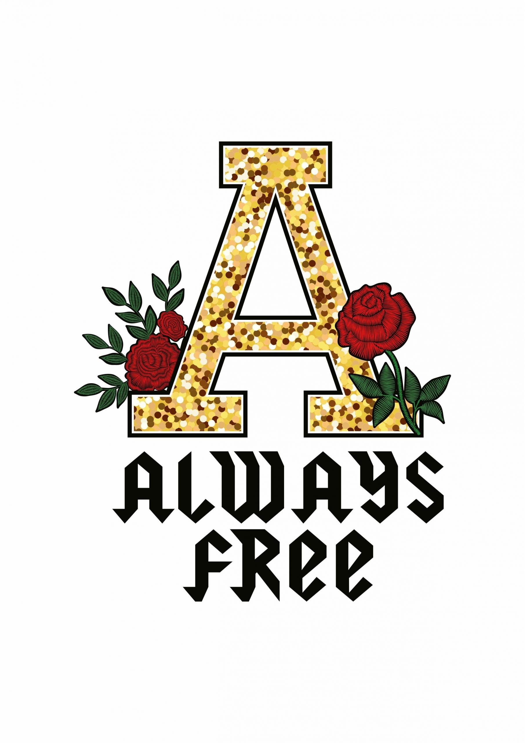 金色字母A植物玫瑰花拼接印花矢量图服装裁片T恤烫图印花花型素材-POP花型网